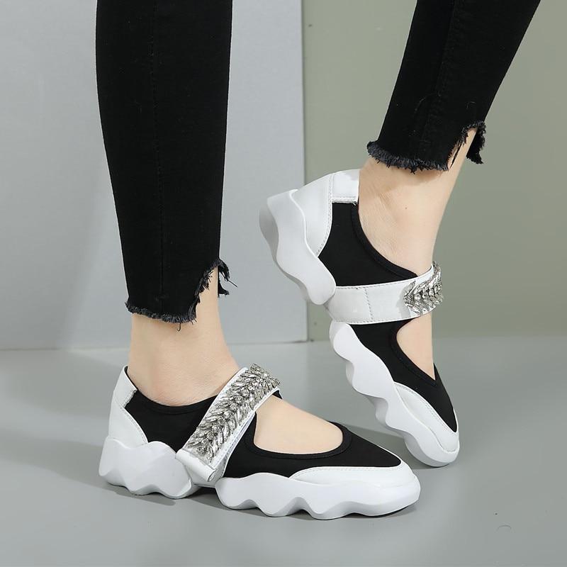 Smile Circle 2018 primavera verano estilo mujer Zapatillas moda strass flor zapatos planos Mujer Zapatos plataforma casual-in Zapatos vulcanizados de mujer from zapatos    3