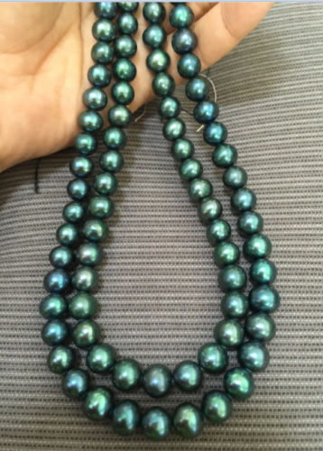N3809 double strands8-9mm tahitian peacock green pearl necklace % AAAN3809 double strands8-9mm tahitian peacock green pearl necklace % AAA