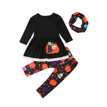 купить Newborn Baby Girl Tops Long Sleeve Dress Shirt Pumpkin Print Long Pants Headband Halloween Outfit Clothes Set 2019 дешево