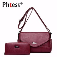 2pc/s Female Leather Messenger Bag Small Crossbody Bags For Women Purses And Handbags Bolsas Femininas Solid Shoulder Bags Lady