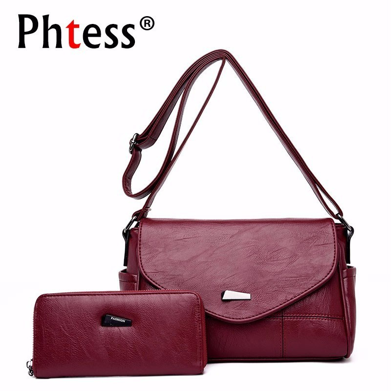 2pc/s Female Leather Messenger Bag Small Crossbody Bags For Women Purses And Handbags Bolsas Femininas Solid Shoulder Bags Lady fashion small bag women messenger bags soft pu leather handbags crossbody bag for women clutches bolsas femininas dollar price