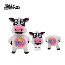 Vaca dos desenhos animados pen drive flash USB pendrive 8GB GB GB 64 32 16GB memory stick presente Personalizado bonito animal flash drive usb3.0