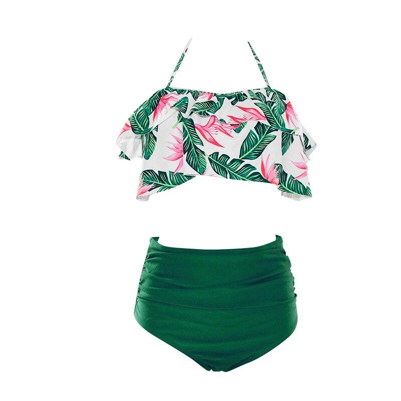 bc3ddcc3a9aaf 2018 Sexy High Waist Bikini Ruffles Swimwear Women Swimsuit Halter Bandage Green  Print Top Beach wear Bathing Suit Biquini S~3XL