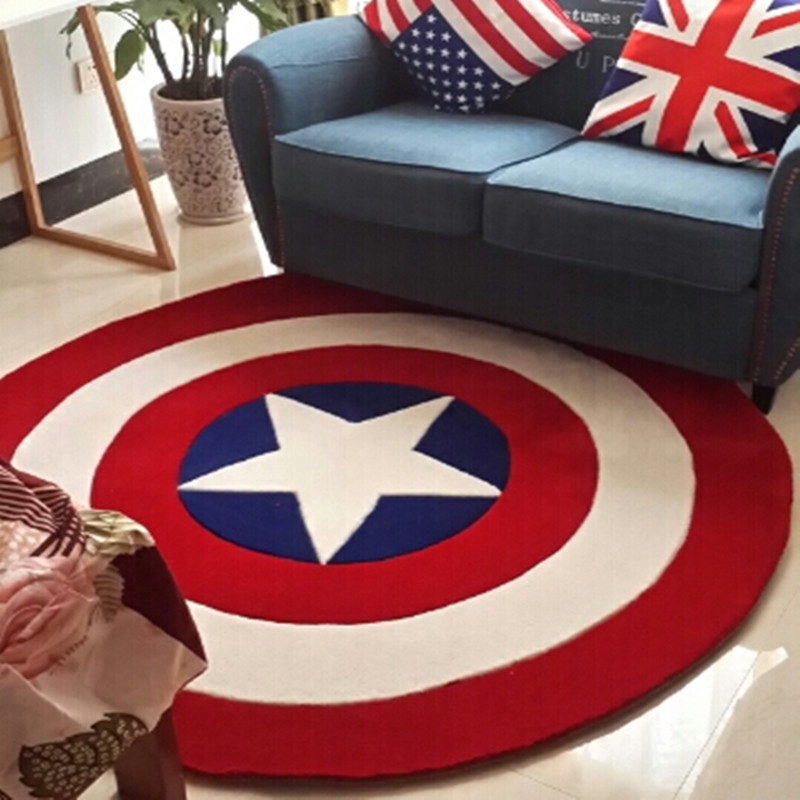 Captain America Shield Simple Modern Round Carpet Cartoon Children Living Room Coffee Table Bedroom Rug Bed Blanket Mat