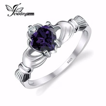 Jewelrypalace corazón 0.7ct anillo claddagh irish alejandrita creado sapphire birthstone anillo de promesa real 925 joyería de plata esterlina