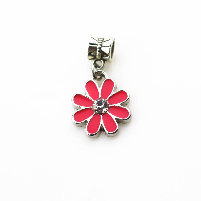 20pcs/lot rose red daisy flower charms hanging charm big hole pendant beads charm fit pando bracelet diy jewelry dangle charms