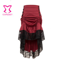 Victorian Wine Red Long Ruffles Lace Front Button High Low Steampunk Skirt Vintage Gothic Dancing Cocktail Party Skirts