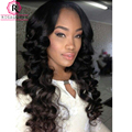Brazilian 360 Lace Frontal With Bundle 2Pcs Loose Wave Human Hair Extensions With Frontal Closure Loose Curly 360 Frontal Bundle