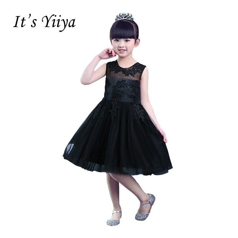 It's YiiYa Black Chiffon Illusion Sleeveless Knee Length O-Neck Ball Gown Zipper Princess   Flower     Girl     Dresses   Communion TS244
