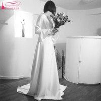 Ivory Bohemian Wedding Dress 2018 Fashion simplicity Gwendolyn Beach Soft Satin Country Bridal Gelinlik V-Neck Long Sleeve ZW002