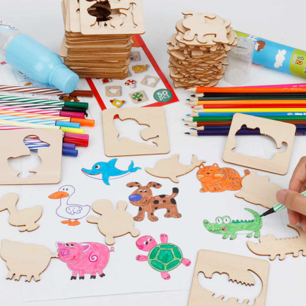 Toybus Kids Drawing Educational Toy Creative Wooden Doodles Painting Board Animal Models Copying Coloring Toys for Children Baby