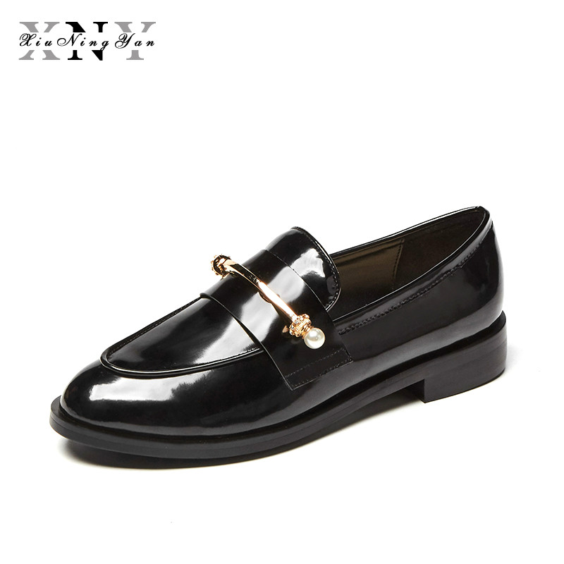XIUNINGYAN Flats British Style Oxford Shoe Women Spring Leather Flat Heel Casual Shoes Slip on Woman Shoes Retro Brogues size 40 e lov women casual walking shoes graffiti aries horoscope canvas shoe low top flat oxford shoes for couples lovers