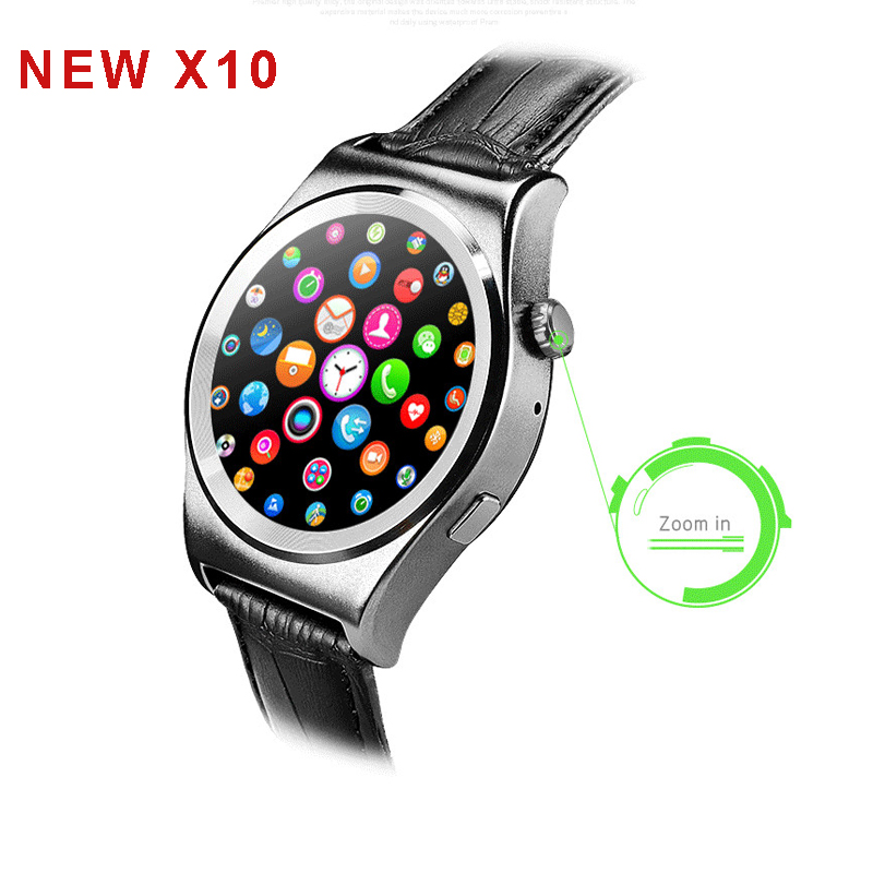 NEW X10 Full Round Smartwatch Heart Rate Tracker MTK2502 BT4.0 Health Tracker Smart watch for IOS Android support Dutch Arabic