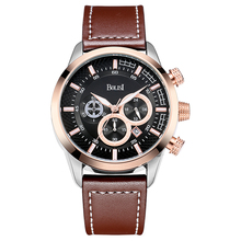 BOLISI Leather Strap Date Military Quartz Analog Chronograph Watch for Business Mens with Complete Calendar