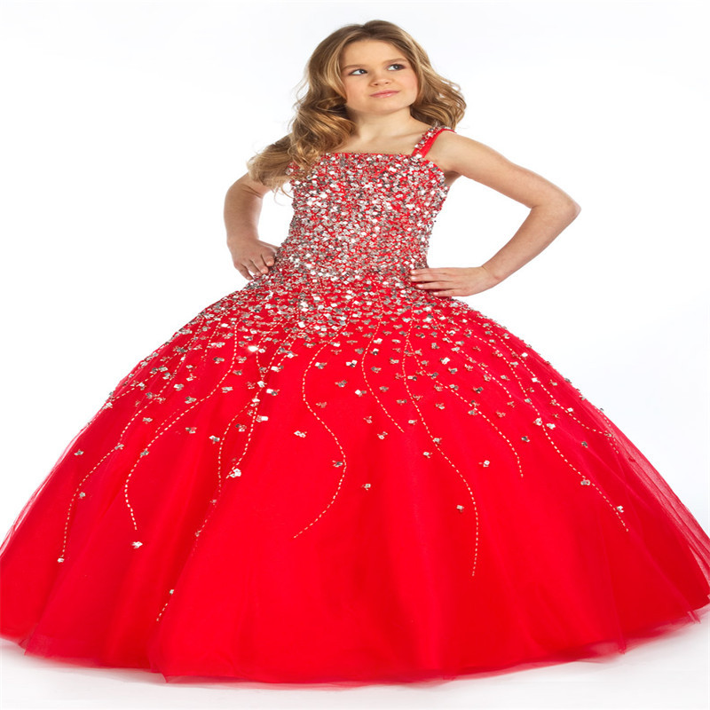 Red Luxury Ball Gowns Kids Party Dress Custom Made Crystal Long ...