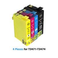 4Pcs T3471 T3472 T3473 T3474 Cartuchos de Tinta Compatíveis para Epson WorkForce Pro WF 3725DWF WF 3720DWF 34XL Cartuchos de tinta    -