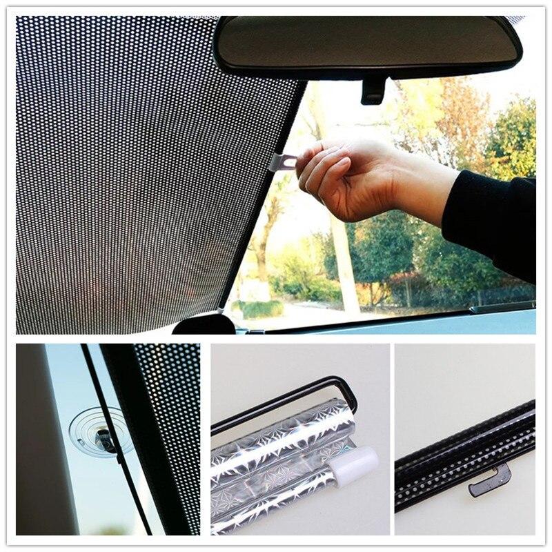 Car Sun Shade Window Sunshade Auto Retractable Sun Block Roller Blind PVC Curtain Car Sun Visor Front Windshield Sunshade