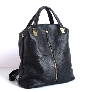 903 New Fashionable Black Multi-purpose Double-shoulder Bag Women Cow Leather Backpack