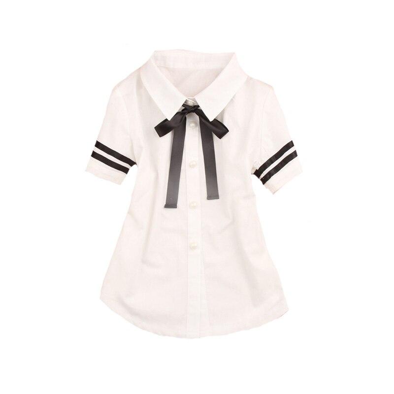 Preppy stiilis tüdrukute pluusid lühikeste varrukatega valged pluusid tüdrukutele Õpilastele koolivormid vibu väikelaste rõivad 18M 4 6 8 9 12 14