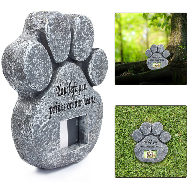 Paw Print Pet Memorial Stone With Photo Frame Loss Of Pet Gift Dog