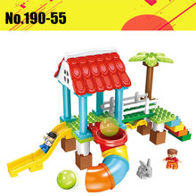 50pcs Diy Legoingly Duploe Happy Playground Paradise Game Pipeline Slide Building Blocks Set Compatible With Toys For Baby Gifts(China)