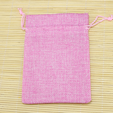 Christmas Wedding Favor Decoration Gift Jute Bags 50pcs Pink 13x18cm Jewelry Gift Candy Handmade Packing Pouches Customized
