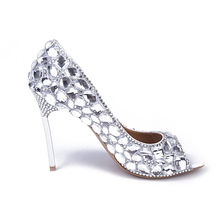 Sexy Fashion Customized Popular Formal font b Shoes b font Peep Toe Pumps Crystal Thin High