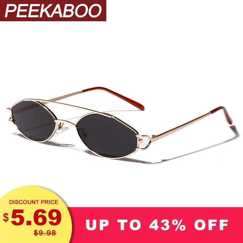 b526737aa6a Peekaboo 2019 sunglasses women small frame gold orange stainless steel oval  sun glasses for men retro