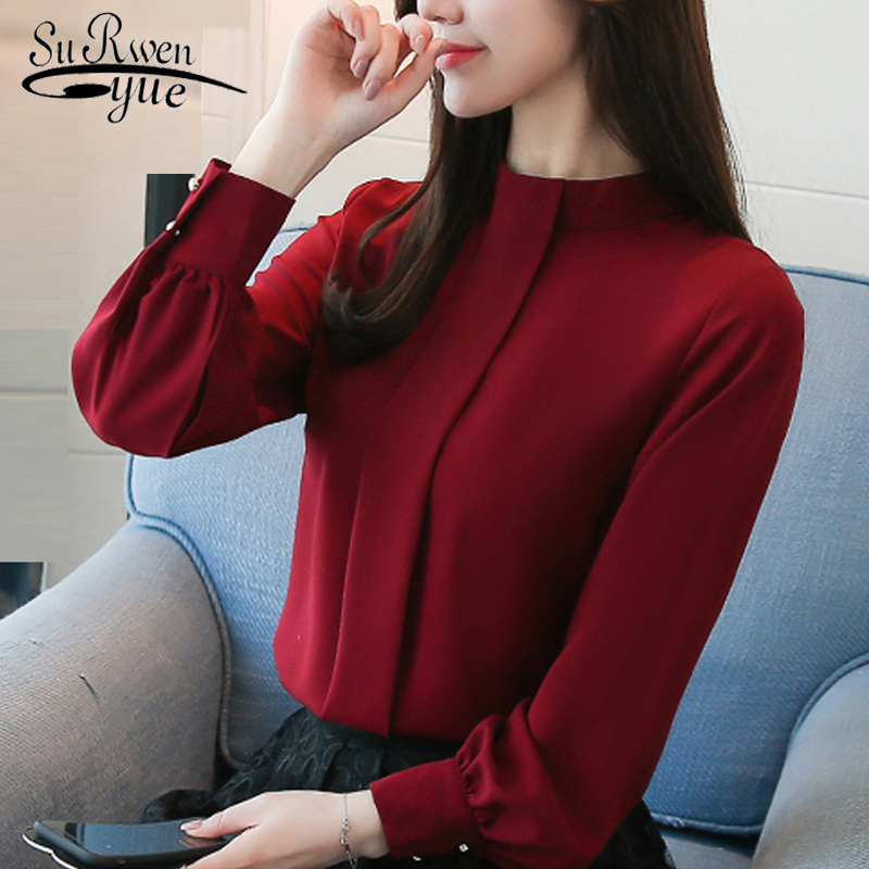 2019 Fashion Office Lady Women Blouses Shirts Long Sleeve  Chiffon Women's Clothing Solid Formal Blouse WomenTops Blusas D456 30