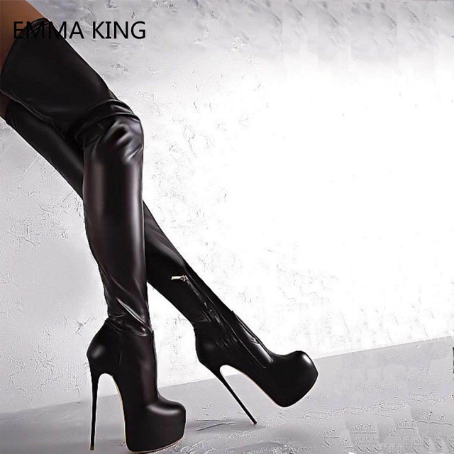 0f9451c54089 Black Stretch Thigh High Boots Leather Women Pointed Toe Heels Platform  Shoes Stiletto Sexy Ladies Over The Knee Long