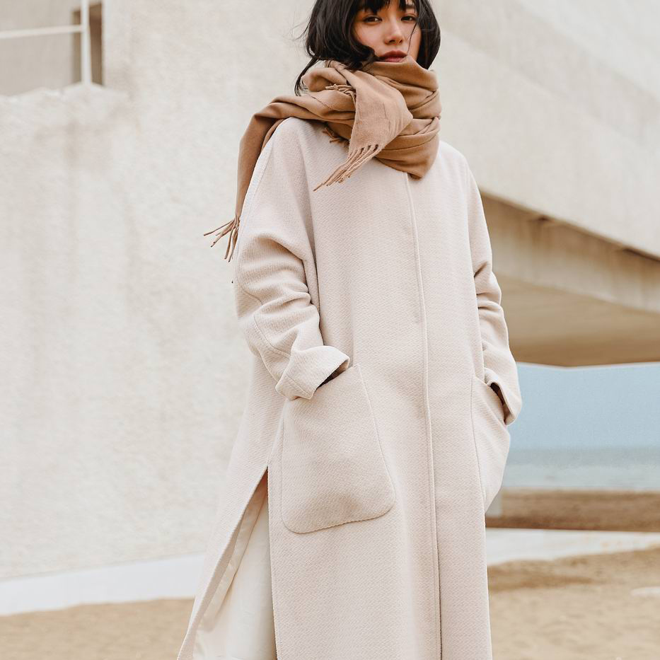 Vêtements Nouvelle Mode 2018 Arrivée Mélanges D'hiver cou O white 100 Creamy Femmes Manteau Épaissir Bref Élégant Tendance De Solide Féminins Laine qBEBS8xwd