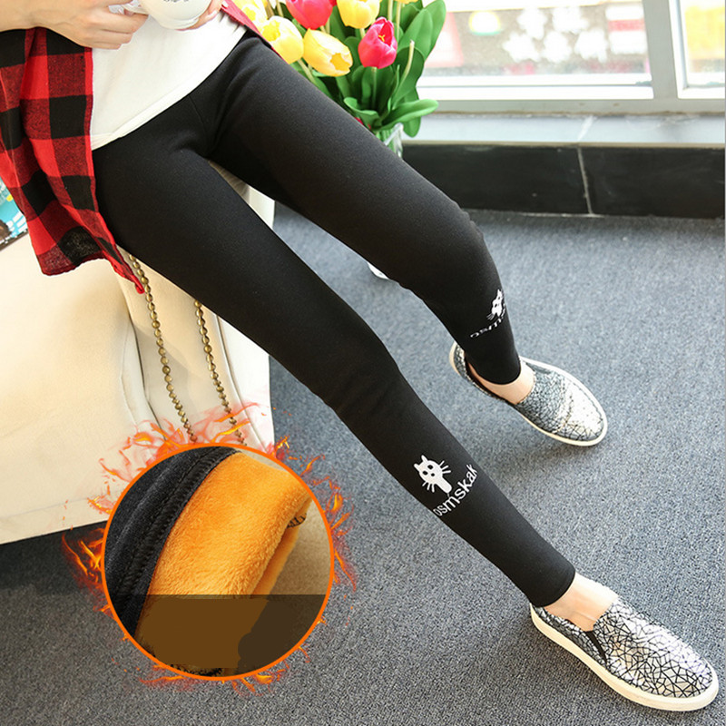 2018 Winter fashion Women's brand trousers With velvet Keep warm Lovely cat casual pencil pants leggings