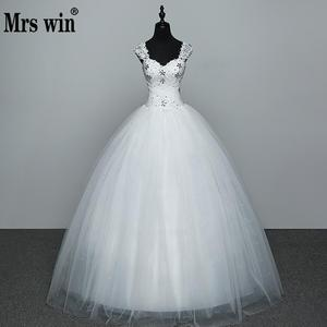 Image 1 - Real Photo Wedding Dress 2020 Hot Sale Applicue Simple Lace Cheap Wedding Gown With Beading Vestido De Noiva Imported china