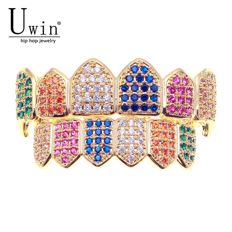 UWIN Hip Hop Rainbow Iced Out AAA Zircon Micro Pave Teeth Grills Caps Top & Bottom Colorful Grills Set Men Women Fashion Jewelry topgrillz hip hop grillz iced out aaa zircon fang mouth teeth grillz caps top