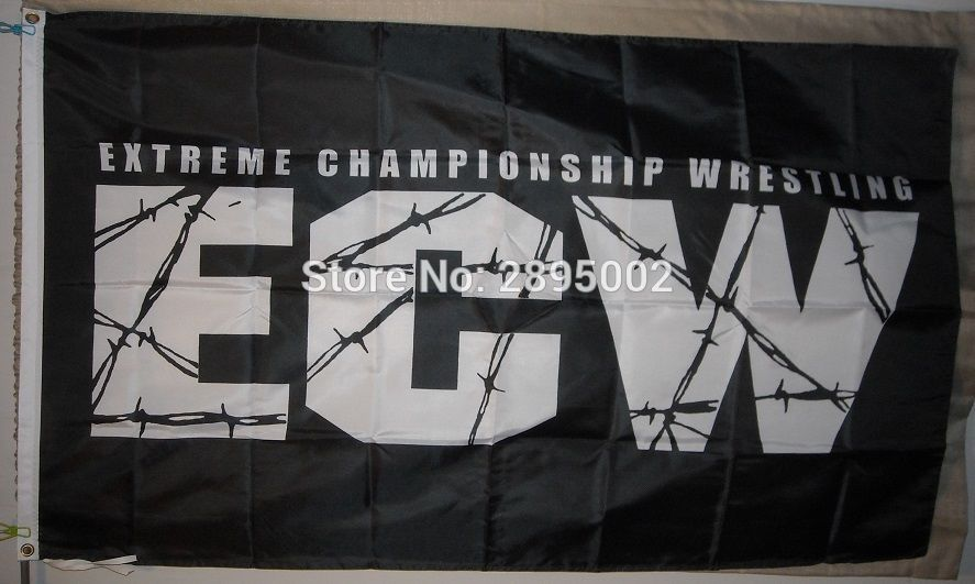 ECW Extreme Championship Wrestling flag Polyester grommets 3 x 5 Banner metal holes Flag-free shipping