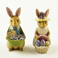 2 pcs Easter Bunny Boy and Girl Rabbit Figurines with Basket and Eggs Wedding Gifts Home Decoration Accessories Fairy Garden