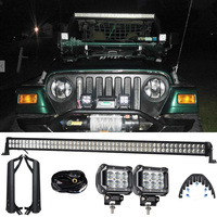 RACBOX 50INCH 288W LED Light Lamp Bar 2 x 18W Flood Work 1 x Windshield Mounting Brackets Rubber Isolator For Jeep TJ 1999 2006