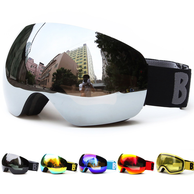 Profesjonell Big Frame Ski Goggles Double Lens UV400 Anti-tåke Adult Snowboard Skiing Glasses Snow Eyewear for Women Men