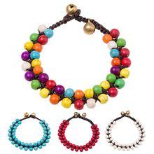 Богемные женские браслеты ручной работы двухрядные круглые бусинки