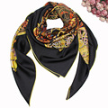100%Real Silk Retro Horse Chain Women Winter Scarves 2017 Luxury Brand Shawl Echarpe 140x140cm Square Hijab Foulard Bandanas S7