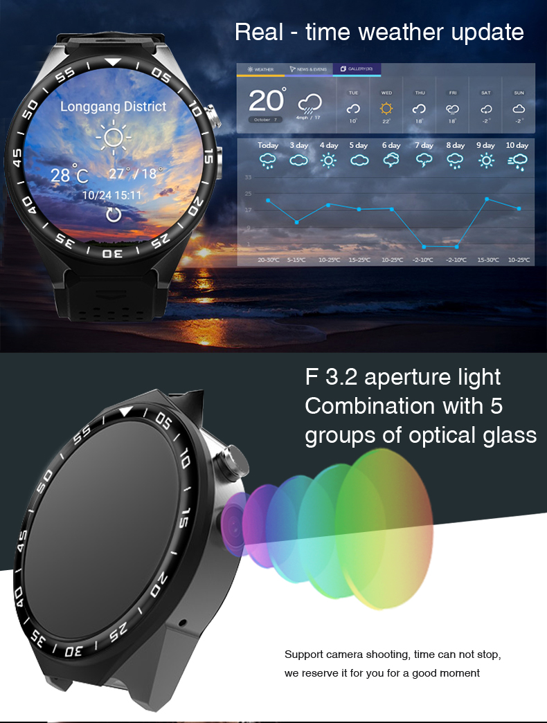 3G Android Smart Watch Phone Heart Rate Monitor Touch Screen Support GPS Wifi SIM Camera App silver 3 7