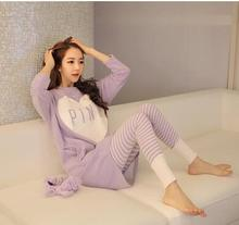 Plus Size L-XXL Spring &Autumn Cotton Long-sleeved Maternity Sleep Lounge Breast-feeding Clothes Pregnant Pajamas Lactation