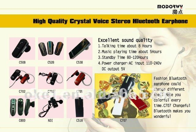 free shipping 2012 Crystal voice Stereo bluetooth headset earphone