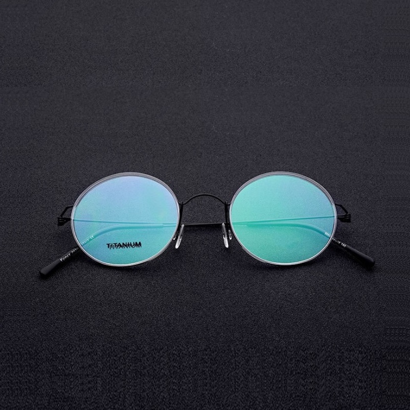 138 Ultra light screwless eyeglasses frames for men titanium alloy round retro women goggle prescription glasses holder frames in Men 39 s Eyewear Frames from Apparel Accessories
