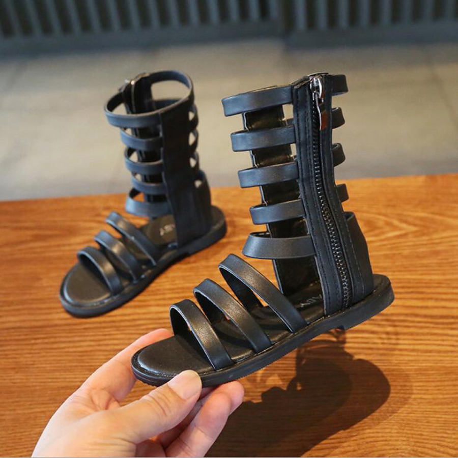 Kids Girls Summer Boots Roman Shoes Children Sandals Black Gladiator Leather Sandals Girls Rubber Shoes Fashion Roman Sandals