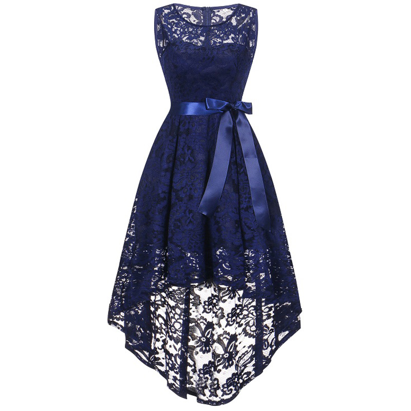 Girls' New Lace Round Necklaces Sleeveless Dress Tail Petals Embroidered Evening Dress Teenage Beauty Pageant Dress Vestidos