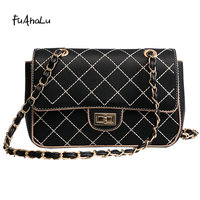 FuAHaLu New fashion Lingge small square bag winter personalized chain shoulder Messenger bag wild