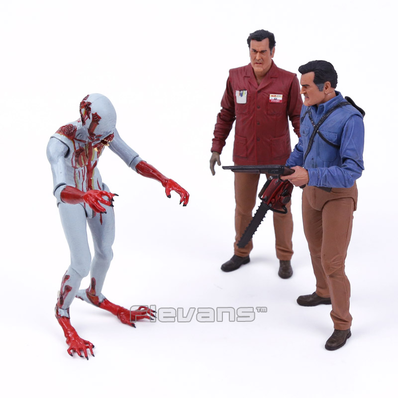 NECA The Evil Dead Ash Vs Evil Dead Ash Williams Eligos PVC Action Figure Collectible Model Toy 3pcs/set 18cm