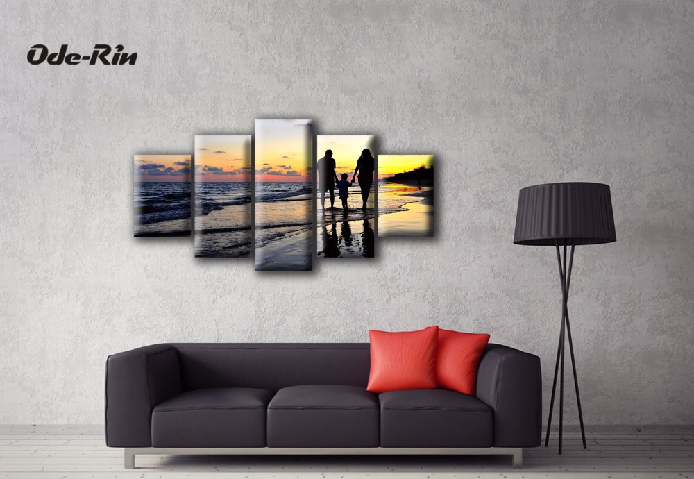 Poster Printable Canvas Wall Art Family Beach Stroll Decorative Oil Painting Modular Of Living Room