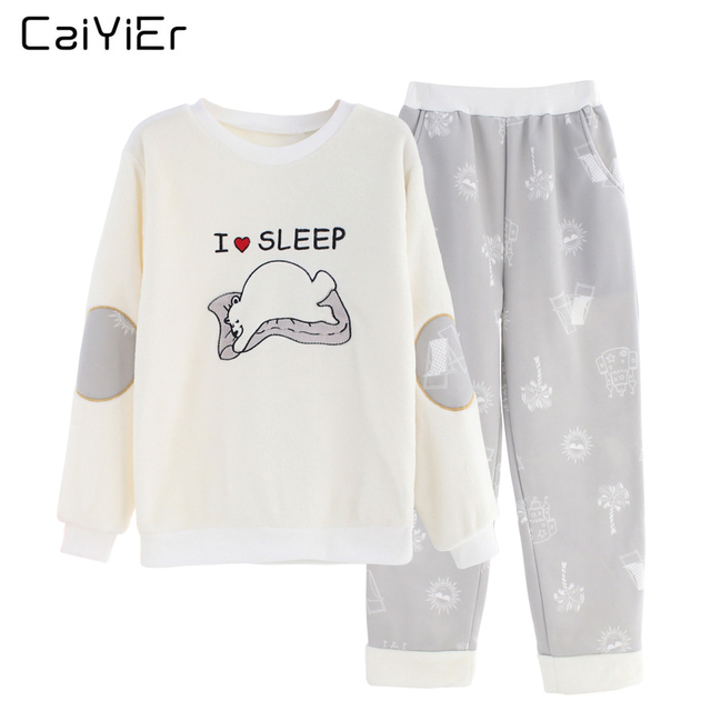 Caiyier Female Pajama Winter Pajamas For Women Flannel Pyjama Thick Warm Nightwear Cotton Pajamas Set Sleepwear Flamingo AN01